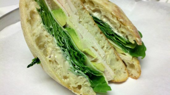 Amherst, MA: The Miles Sandwich - Chicken, Avocado, Spinach, Muenster Cheese, Roasted Shallot Mayonnaise.