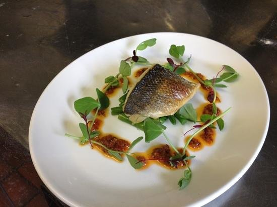 39 Steps Restaurant: grilled sea bass tomato and garlic dressing