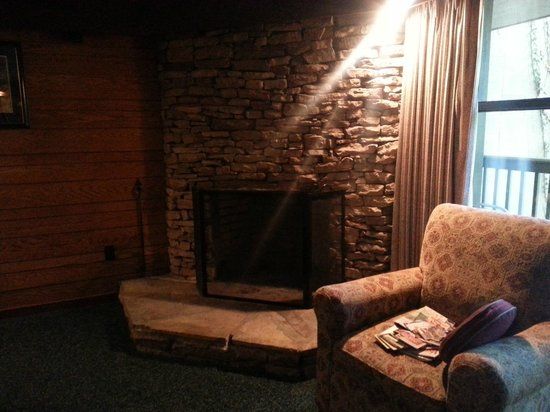 Riverhouse Motor Lodge: Fireplace and chair