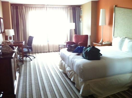 Hilton San Diego Gaslamp Quarter: nice room. no fridge. comes with earplugs and curtains make it dark. I like that