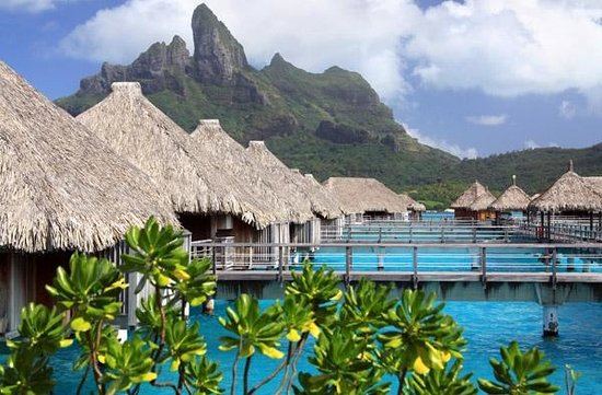 The St. Regis Bora Bora Resort: St Regis overwater bungalows with view of Mt Otemanu