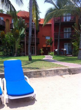 Club Med Ixtapa Pacific: Our room has the wet clothes on the deck. Steps to the beach!
