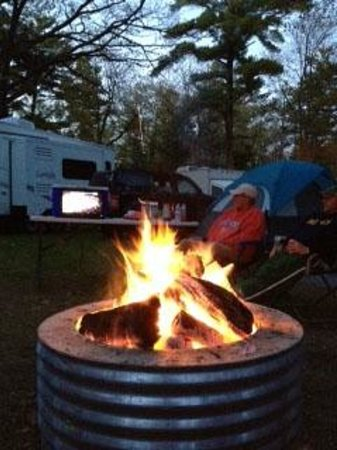 Wilderness State Park: Watching the Red Wings outdoors during our bonfire