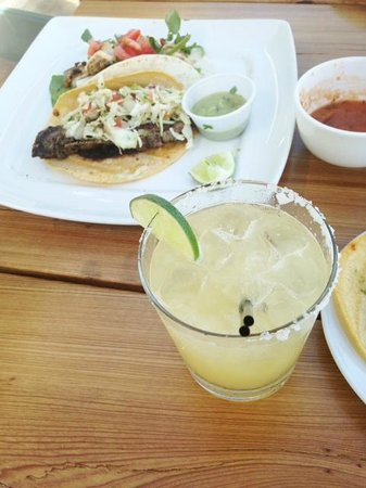 Bald Head Island, NC: margarita, shrimp and carne asada