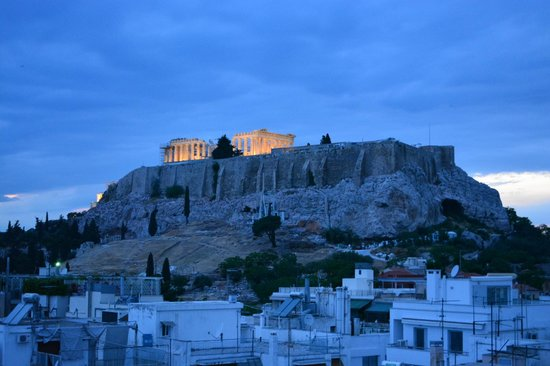 The Athens Gate Hotel: The Acropolis taken from the rooftop Restaurant