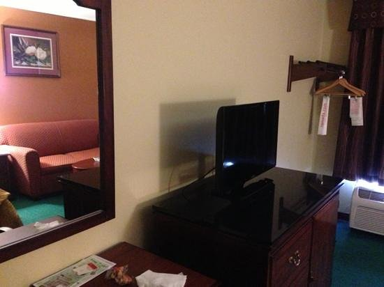 Ramada Limited Columbia: flat screen tv, desk/table, and couch area in our room