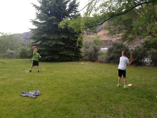 East Wenatchee, WA: Boys playing baseball in our campsite...it was that big!