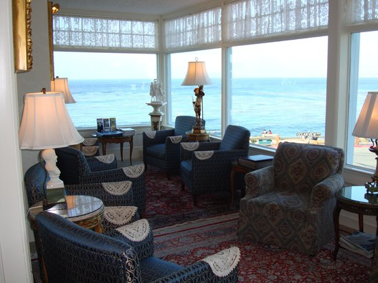 Seven Gables Inn: one of the many seating areas.  Look at that view!