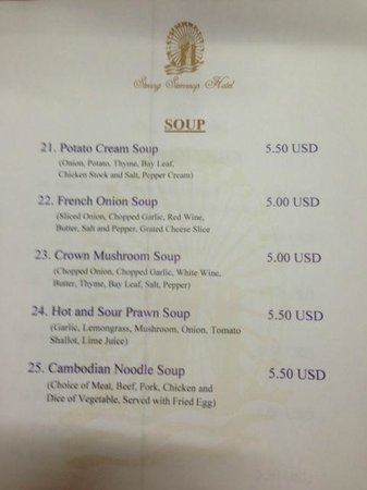 Steung Siemreap Hotel: Food menu for room service