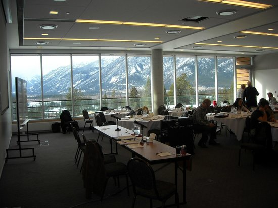 The Banff Centre: View through one of the conference rooms