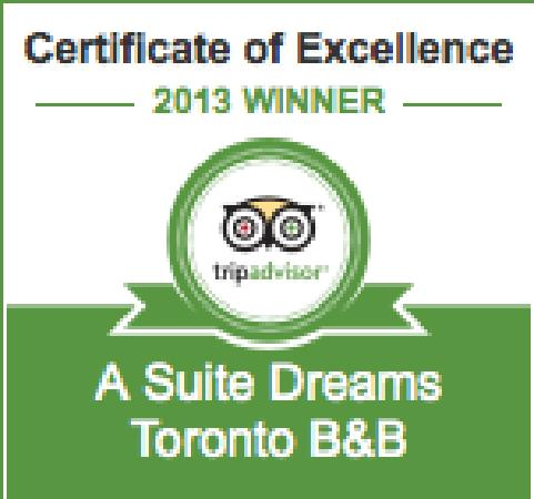A Suite Dreams Toronto B&B: 2013 Tripadvisor Certificate of Excellence