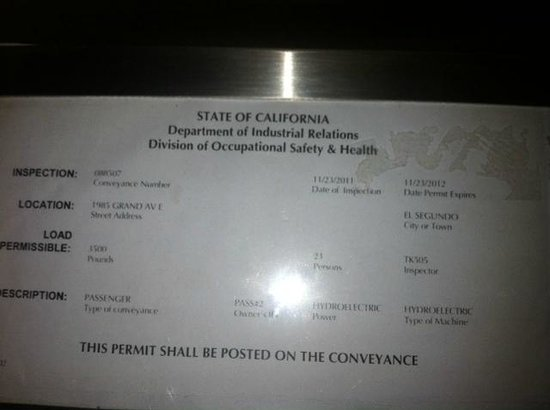 DoubleTree by Hilton Hotel LAX - El Segundo: elevator license expired 11/2012......