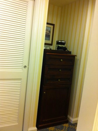 Disney's Boardwalk Inn: This cabinet housed the mini fridge and coffee maker