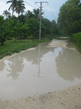 Vale Vale Beachfront Villas: One of many rain-filled potholes on Pango Rd near the villas