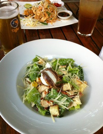 FCC Angkor: Chicken Caesar salad and beer