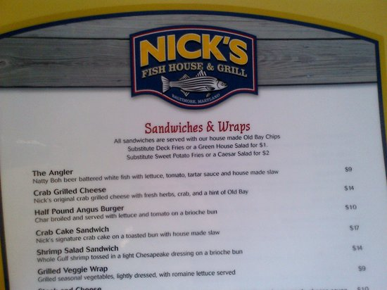 Nick 39 S Fish House Menu Picture Of Nick 39 S Fish House