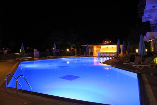 Basar Hotel Dalyan: Basar Hotel pool at night