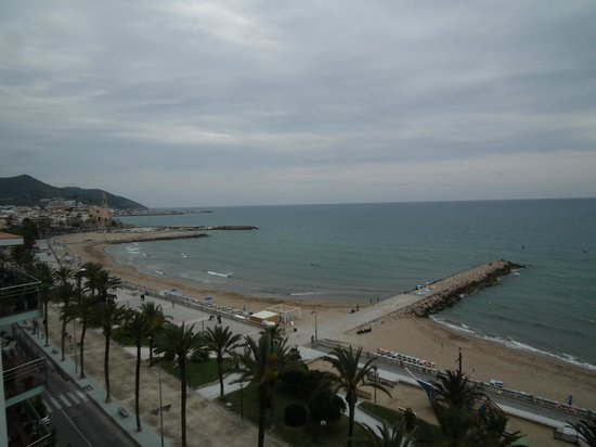 """Hotel Calipolis: Viewing Sitges """"old town""""(left) from the balcony"""