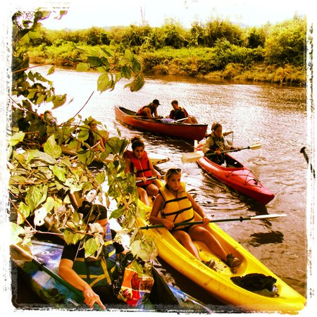 Sutton, Canada: Group of student kayaking and canoeing