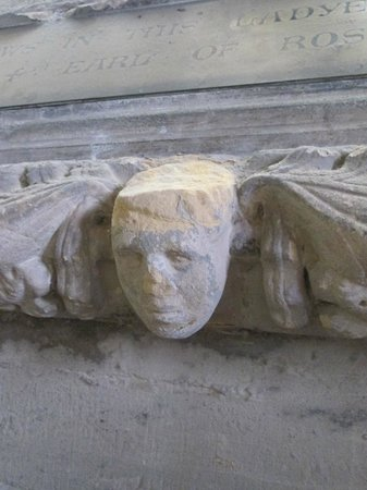 Roslin, UK: Carving of a head