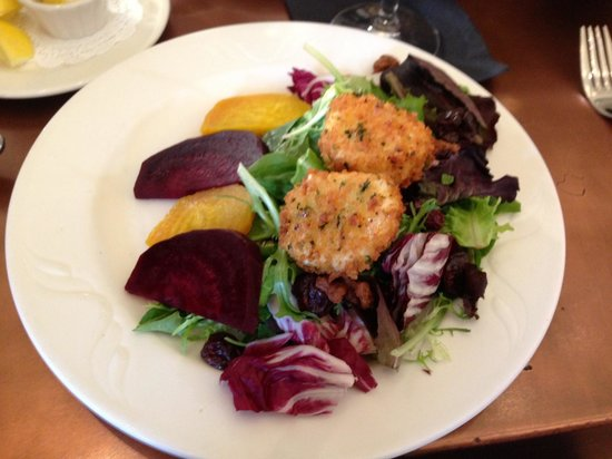 Warrenton, VA: The excellent beet and goat cheese salad.
