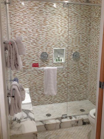 Santa Maria Suites: Double shower with marble floors and bench in the shower all enclosed in glass