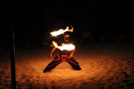 Allegro Cozumel: Fire dancers - beach fire show.