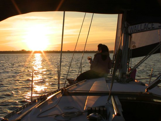 Georgetown, SC: Enjoying their anniversary sharing the sunset. www.wallacesailingcharters.com