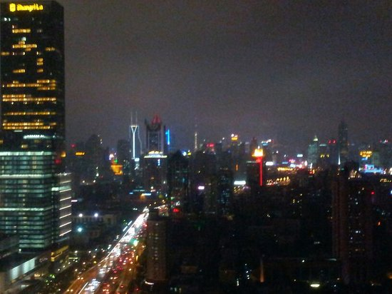 Hilton Shanghai: Colorful city  view at night