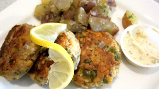 Martindale, TX: Wild salmon cake with incredible potatoes