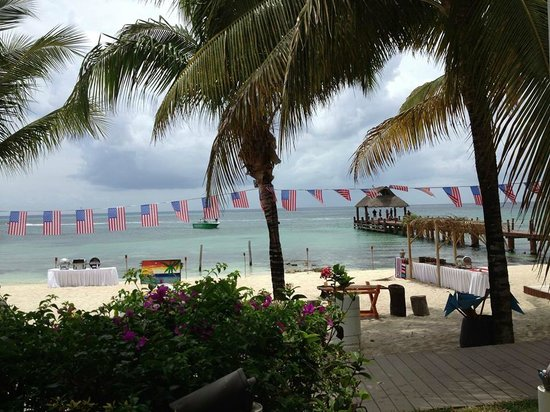 Secrets Aura Cozumel: thebeach and dock from Windows restaurant