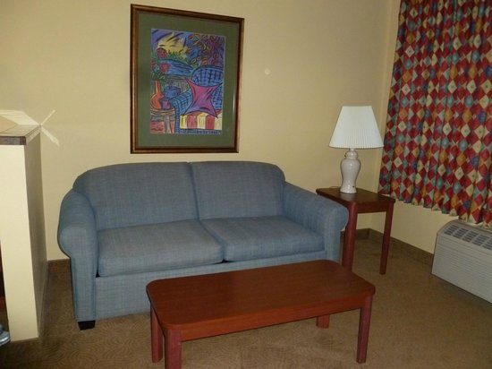 Oxford Suites Portland - Jantzen Beach: Room has a hide a bed couch