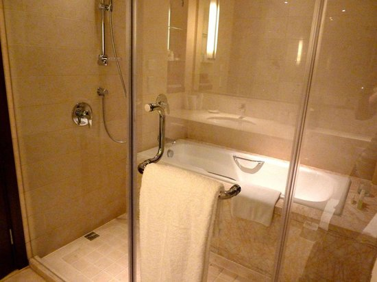 Oakwood Residence Hangzhou: Shower is outside the tub.