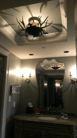 Grand Bohemian Hotel Asheville, Autograph Collection: Antler chandelier in the bathroom.