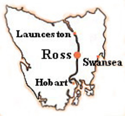 Location of Ross in Tasmania