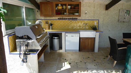 Noves, Frankrike: The fantastic bbq area by the pool, with sink, dishwasher and refrigerator