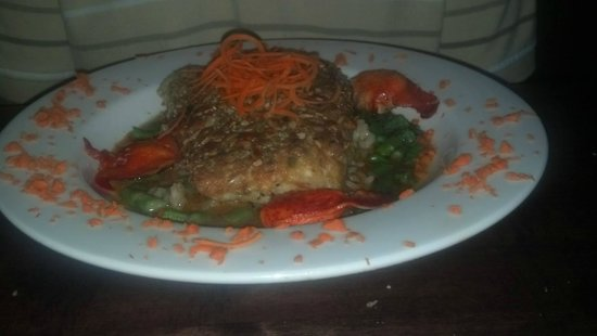 Cashiers, Βόρεια Καρολίνα: pumpkin seed encrusted halibut with lobster risotto
