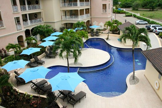 The Landings St. Lucia: View of one pool from front balcony