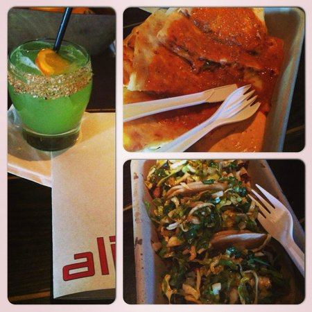 Culver City, CA: Spiced Daisy Cocktail, Kimchi Sesame Quesadilla, and Tacos-1 chicken, 1 pork, & 1 short rib