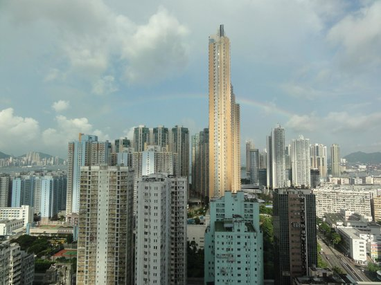 Langham Place, Mongkok, Hong Kong: View from our 21st floor room with rare rainbow in HK
