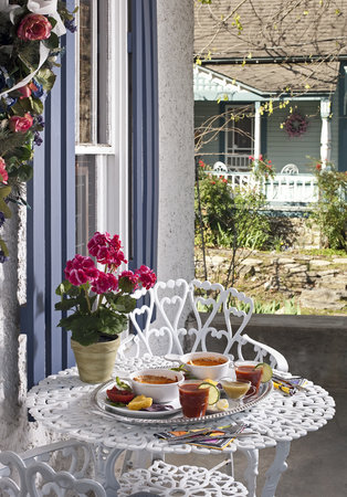 Cliff Cottage Inn - Luxury B&B Suites & Historic Cottages : Bkfst on your own private porch