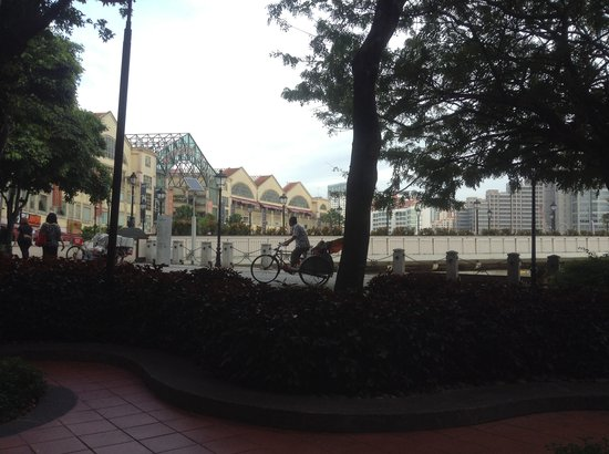 Swissotel Merchant Court: our view each morning @ breakfast overlooking towards Clarke Quay