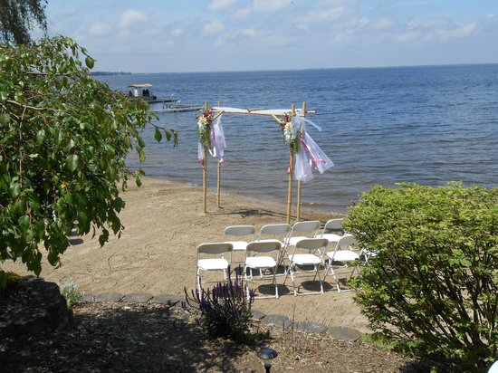 Houghton Lake, MI: Bamboo arch for the wedding ceremony