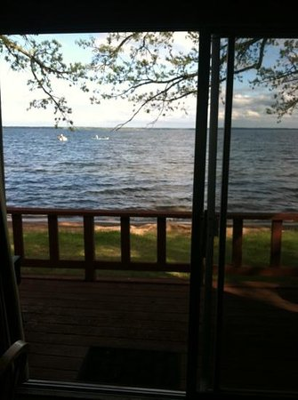 Bemidji, MN: View from Cabin #6 - just a few feet from the lake!