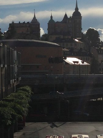 Hilton Stockholm Slussen: View of hotel coming up the walk from Gamla Stan
