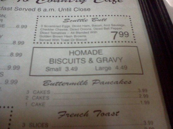 Saint Robert, MO: Biscuits and Gravy are a must have