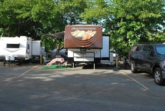 Auburn Gold Country RV Park: An asphalt back-in space occupied