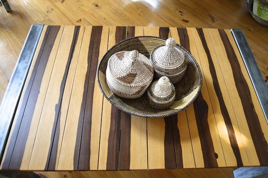 Aquebogue, NY: Baskets from Senegal and table from a French Artist
