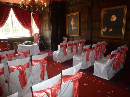 Crewe, UK: The Oak Room set up for the Wedding