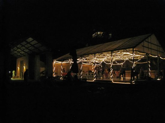 Concordia Eco-Tents: Concordia patio at night with band playing